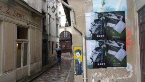 Affiches en sauvage wild posting pour la marque KART à Paris dans le Marais
