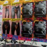 Flyposting pour Caroline Najnam et Elevenparis Jeans rue Charlot dans le Marais à Paris pendant Fashion Week