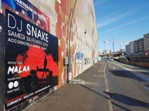 Affiche sur le périphérique parisien pour Dj Snake à l'Accorhotels Arena de Paris