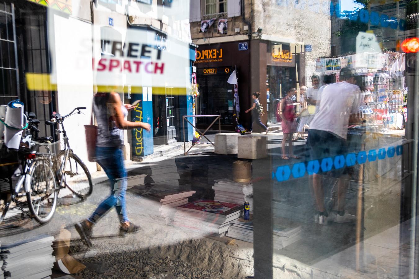 Local de Street Dispatch du 101 rue de la Bonneterie pendant le festival d'Avignon 2018
