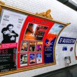 Affichage d'une publicité dans le métro sur le réseau Paris Culture pour le spectacle Gaby Mon Amour au Théâtre Dejazet les 24 et 25 septembre 2018.