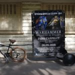 Vélo publicitaire d'affichage mobile urbain pour l'ouverture du magasin Warhammer du Châtelet à Paris.