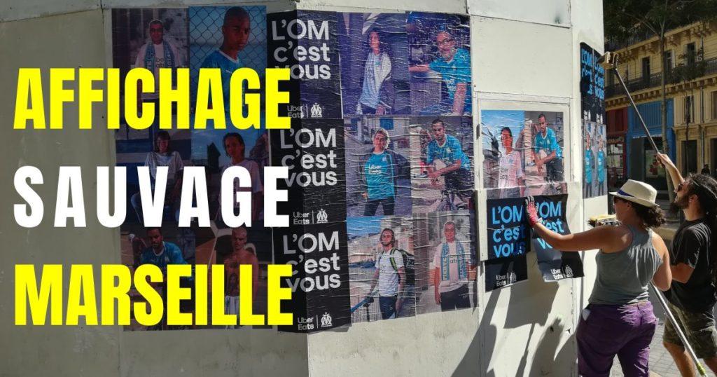Affichage sauvage à Marseille pour Uber Eats