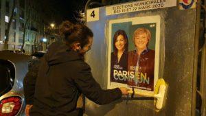 Affichage politique sur les panneaux électoraux pour Anne Hidalgo
