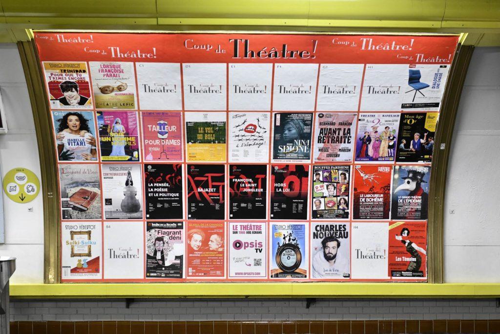 Réseau de publicité « Coup de Théâtre » du métro parisien propose des emplacements partagés et réservés à l'affichage des spectacles de théâtre.