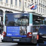 Publicité bus RATP Paris affichage arrière format 16/9