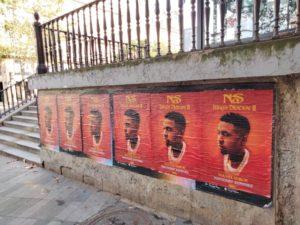 Affichage sauvage street marketing à Paris pour le rappeur Nas ⁃ Nasir Jones